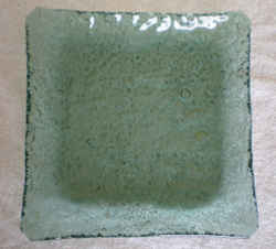 Recycled Glass: Platter - Green Square with Raised Edges