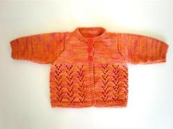Knitwear - Bamboo: 100% Bamboo Cardigan Two Lace Bands (New Born)